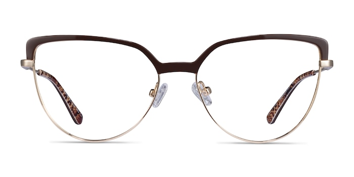 Dona Brown & Gold Acetate-metal Eyeglass Frames from EyeBuyDirect