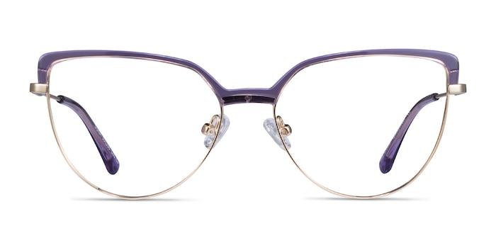 Dona Clear Purple & Gold Acetate-metal Montures de Lunette de vue d'EyeBuyDirect