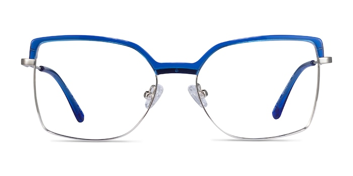 Further Blue & Silver Acetate-metal Eyeglass Frames from EyeBuyDirect