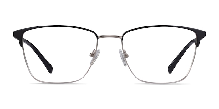 Moore Black Silver Acetate Eyeglass Frames from EyeBuyDirect