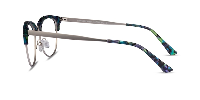Sophisticated Blue Floral & Silver Acetate-metal Montures de Lunette de vue d'EyeBuyDirect