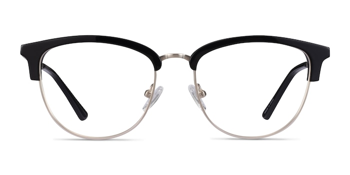 Sophisticated Black & Silver Acetate-metal Montures de Lunette de vue d'EyeBuyDirect