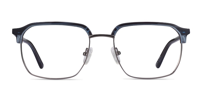 Break Blue Striped & Gunmetal Acetate-metal Montures de Lunette de vue d'EyeBuyDirect