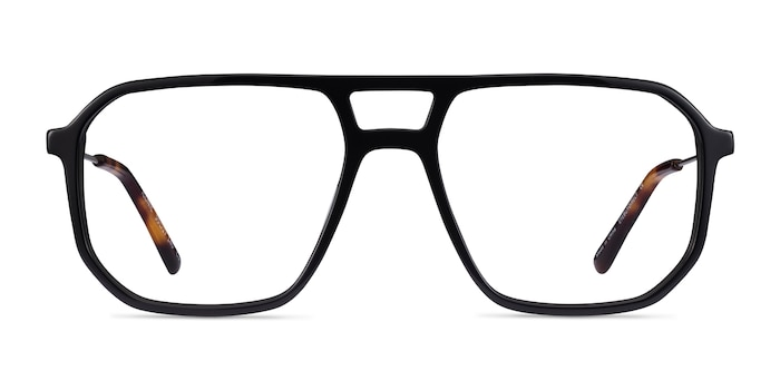 Iconic Black & Silver Acetate-metal Eyeglass Frames from EyeBuyDirect