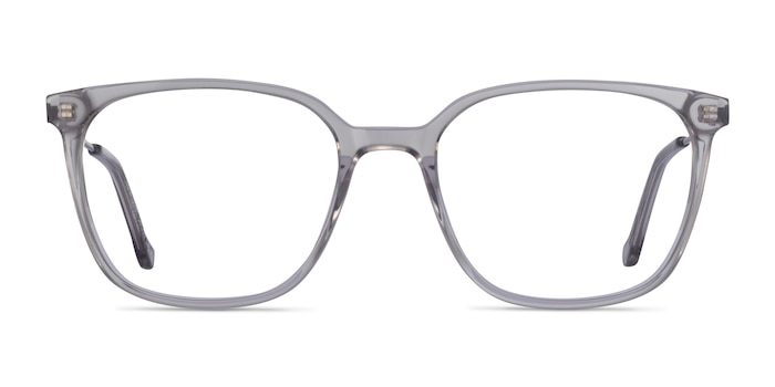 Confident Clear Gray Silver Acetate Eyeglass Frames from EyeBuyDirect