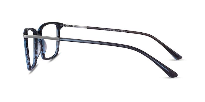 Button Striped Blue Acetate Eyeglass Frames from EyeBuyDirect