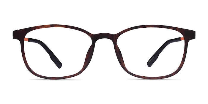 Idea Matte Tortoise Orange Plastic Eyeglass Frames from EyeBuyDirect