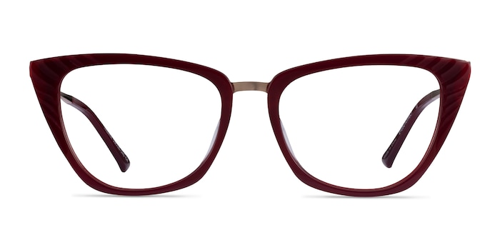 Trenta Burgundy Gold Acetate Eyeglass Frames from EyeBuyDirect