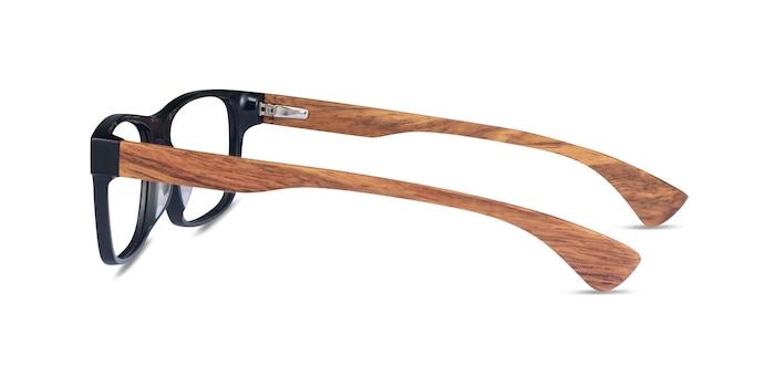 Taiga Dark Gray & Wood Wood-texture Montures de lunettes de vue d'EyeBuyDirect