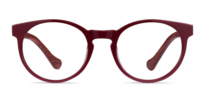 Everglades Red & Red Wood Wood-texture Eyeglass Frames from EyeBuyDirect