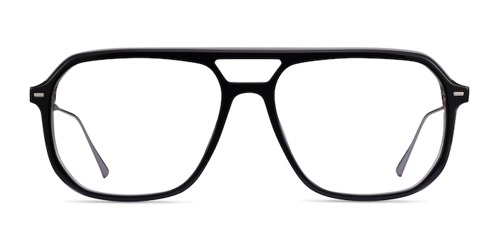 Intrepid Black Gunmetal Acetate Eyeglass Frames from EyeBuyDirect