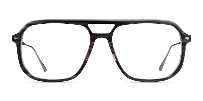 Intrepid Gray Striped Acetate Eyeglass Frames from EyeBuyDirect