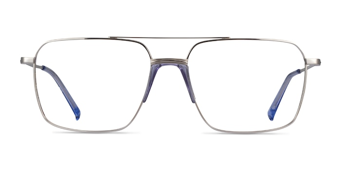 Matt Silver Blue Acetate Eyeglass Frames from EyeBuyDirect