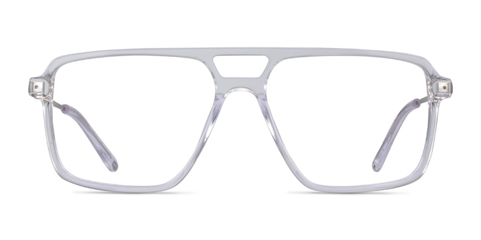 San Diego Clear Silver Acetate Eyeglass Frames from EyeBuyDirect