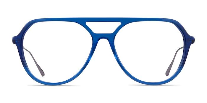 Cumulus Clear Blue Silver Acetate Eyeglass Frames from EyeBuyDirect