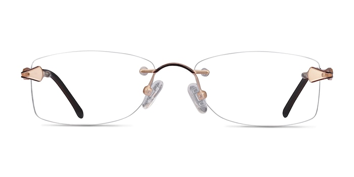 Rivet Golden/Brown Metal Eyeglass Frames from EyeBuyDirect