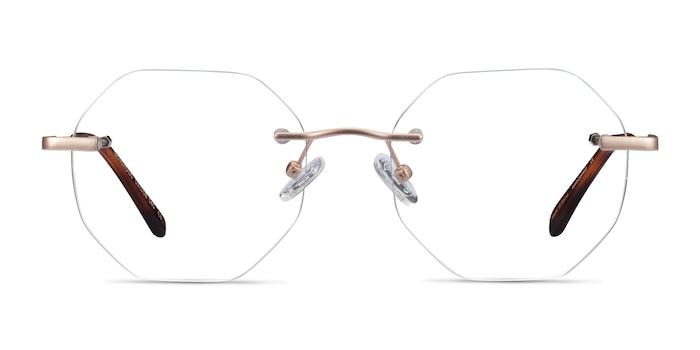 Generous Matte Gold Metal Eyeglass Frames from EyeBuyDirect