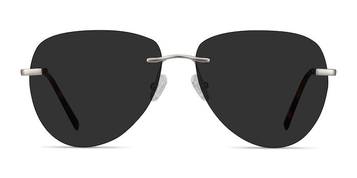 Martin Matte Silver Metal Sunglass Frames from EyeBuyDirect