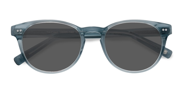 Clear Blue Till Dawn -  Vintage Acetate Sunglasses