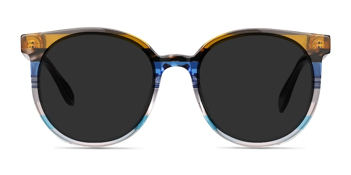 Valence Brown Blue Acetate Sunglass Frames from EyeBuyDirect