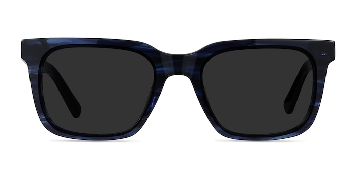 Riddle Blue Striped Acetate Sunglass Frames from EyeBuyDirect