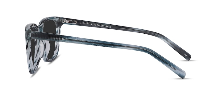 City Blue Striped Acetate Sunglass Frames from EyeBuyDirect