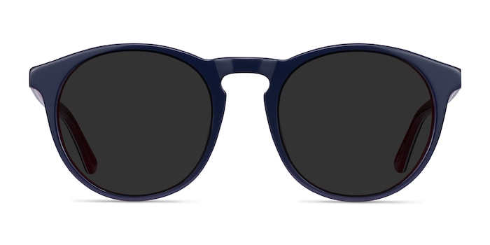 Monument Navy & Red Acetate Sunglass Frames from EyeBuyDirect