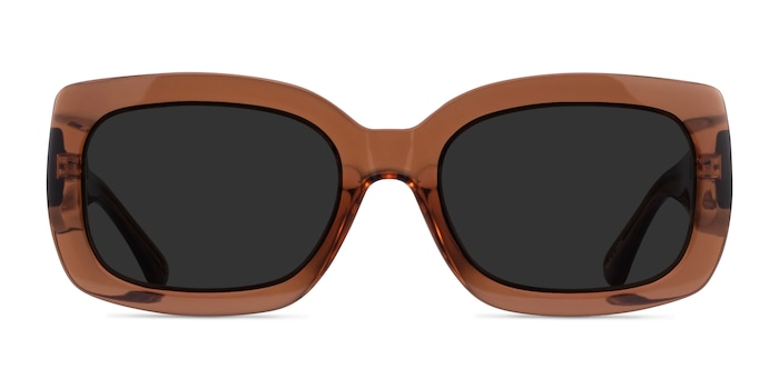 Courteney Clear Brown Acetate Sunglass Frames from EyeBuyDirect