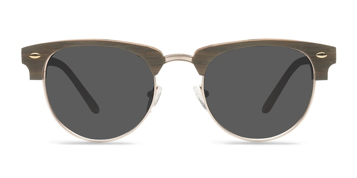 The Hamptons Walnut & Gold Acetate-metal Soleil de Lunette de vue d'EyeBuyDirect