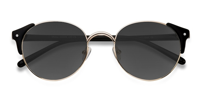 Golden Black Miaou -  Vintage Metal Sunglasses