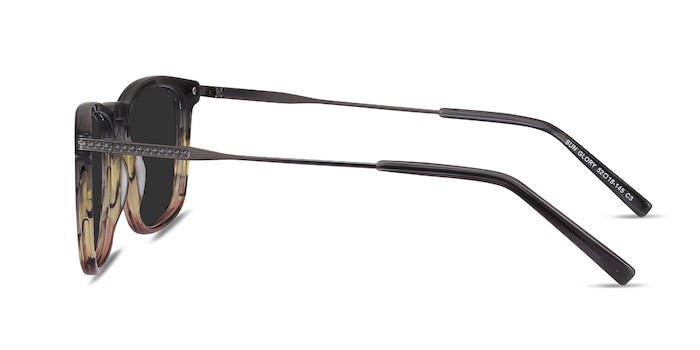 Sun Glory Gray Striped Acetate-metal Soleil de Lunette de vue d'EyeBuyDirect