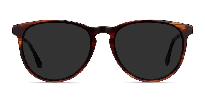 Sun Ultraviolet Brown Striped Acetate-metal Soleil de Lunette de vue d'EyeBuyDirect
