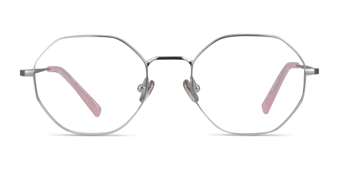 Cecily Silver Titanium Eyeglass Frames from EyeBuyDirect
