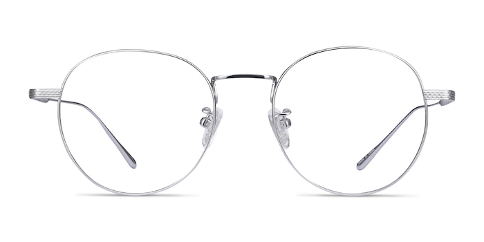 Geometry Silver Titanium Eyeglass Frames from EyeBuyDirect
