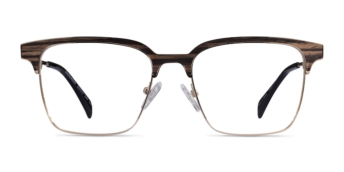 Evergreen Gold & Striped Woord Wood-texture Eyeglass Frames from EyeBuyDirect