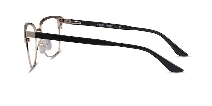 Biome Gold, Black & Dark Wood Acétate Montures de lunettes de vue d'EyeBuyDirect