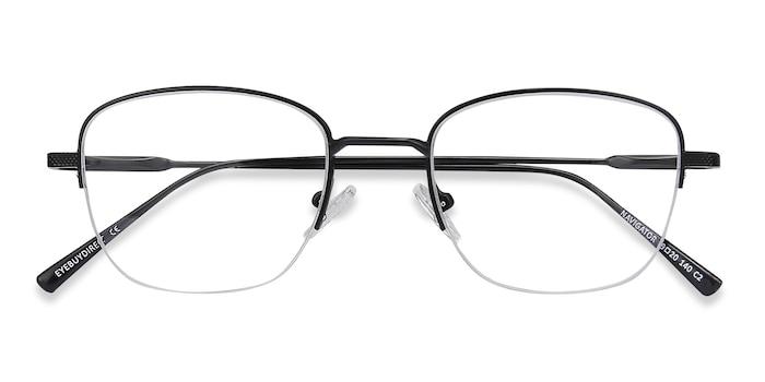 Black Navigator -  Vintage Metal Eyeglasses