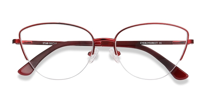 Burgundy Star -  Colorful Metal Eyeglasses