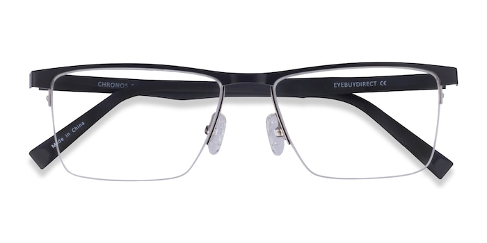 Silver Black Chronos -  Metal Eyeglasses