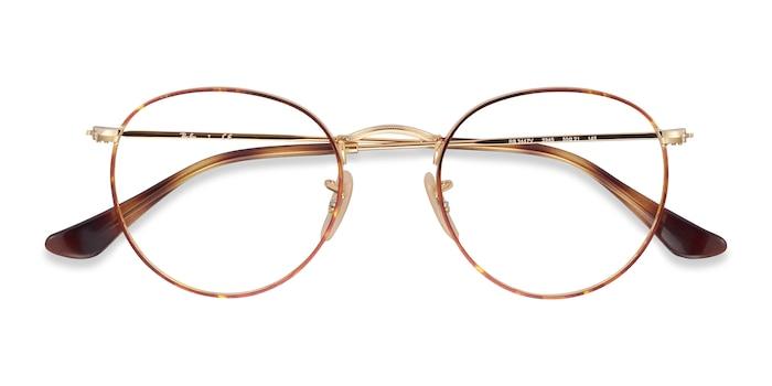 Tortoise & Gold Ray-Ban RB3447V -  Lightweight Metal Eyeglasses