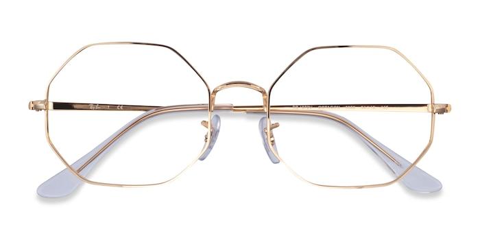 Gold Ray-Ban Octagon -  Lightweight Metal Eyeglasses