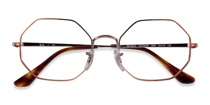Bronze Ray-Ban Octagon -  Metal Eyeglasses