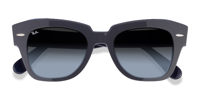 Gray On Transparent Blue Ray-Ban State Street -  Acetate Sunglasses