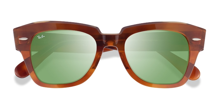 Havana On Transparent Beige Ray-Ban State Street -  Acetate Sunglasses