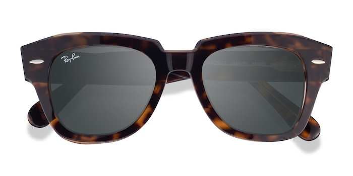 Havana On Transparent Brown Ray-Ban State Street -  Acetate Sunglasses