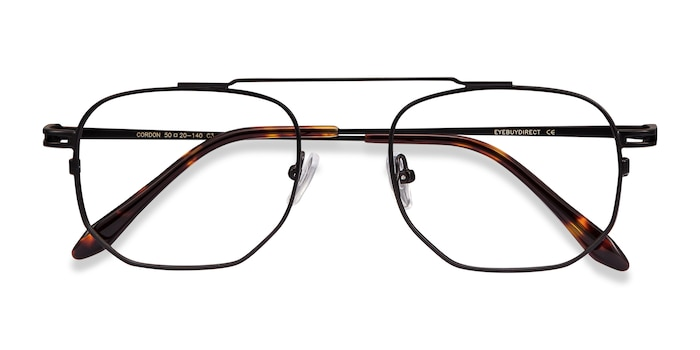 Black Cordon -  Vintage Metal Eyeglasses