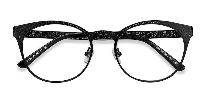 Black Lattice -  Metal Eyeglasses