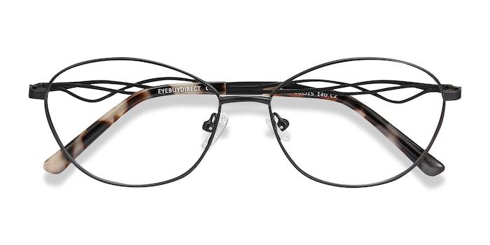 Black Helix -  Vintage Metal Eyeglasses