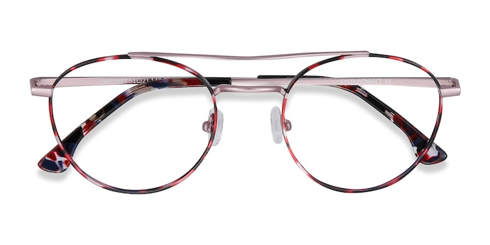 Red Tortoise Earhart -  Fashion Metal Eyeglasses