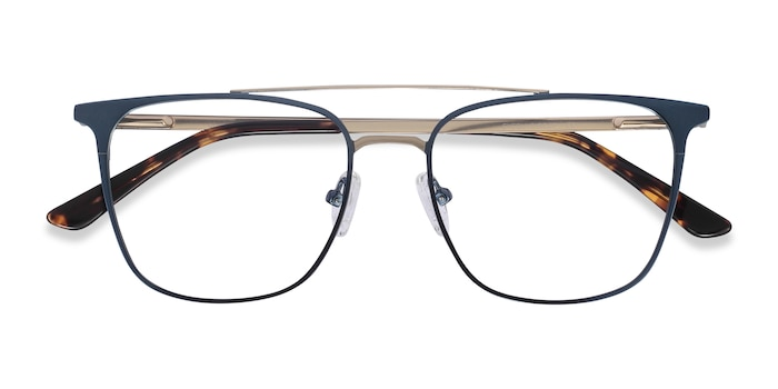 Blue Contact -  Metal Eyeglasses